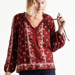 Lucky Brand Patterned Tie Neck Peasant Blouse